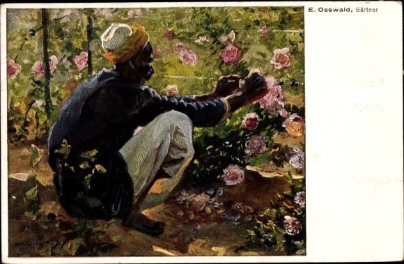 Künstler Ak Osswald, E., Gärtner bei der Arbeit, Blumenbeet  0
