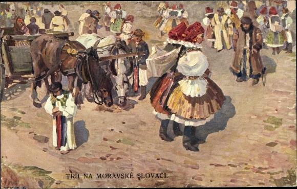 Künstler Ak Pistelky, O., Slowakei, Volkstrachten, Markt 0