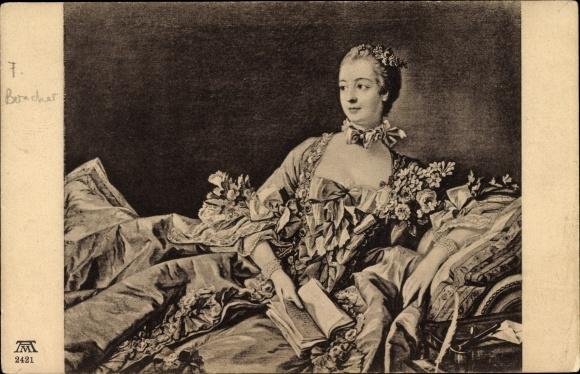 Künstler Ak Boucher, F., Madame de Pompadour, Ludwig XV., Mätresse, Ackermann 2421 0