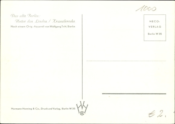 Künstler Ak Tritt, Wolfgang, Berlin Mitte, Unter den Linden, Kranzlerecke 1