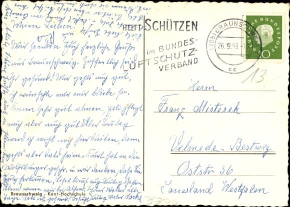 Ak Braunschweig in Niedersachsen, Kant Hochschule, Außenansicht 1