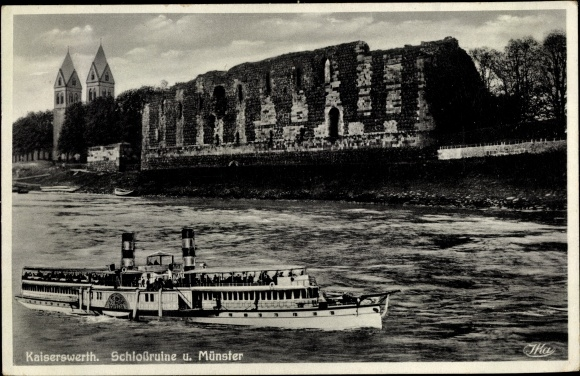 Ak Kaiserswerth Düsseldorf am Rhein, Schlossruine u. Münster, Uferpartie, Dampfer 0