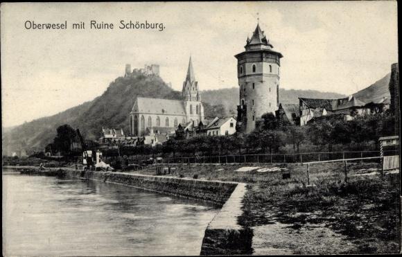 Ak Oberwesel in Rheinland Pfalz, Teilansicht vom Ort, Ruine Schönburg, Liebfrauenkirche, Haagsturm 0