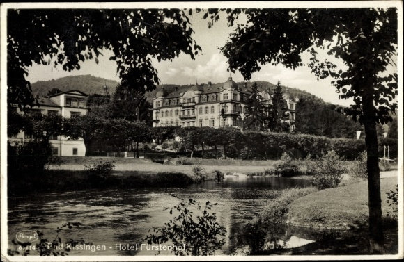 Ak Bad Kissingen Unterfranken Bayern, Hotel Fürstenhof, Fluss 0