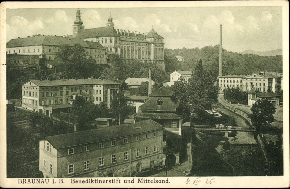 Ak Broumov Braunau Region Königgrätz, Benediktinerstift u. Mittelsand 0