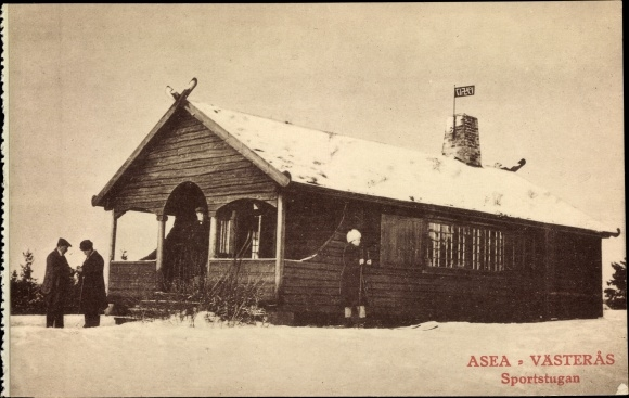 Ak Västerås Schweden, Sportstugan, Skiläuferin, Schneelandschaft