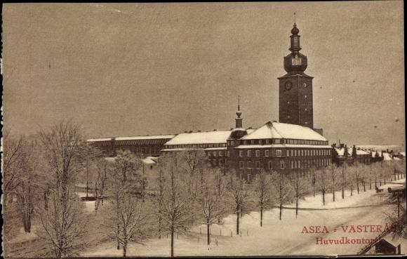 Ak Västerås Schweden, Huvudkontoret, Schneelandschaft 0