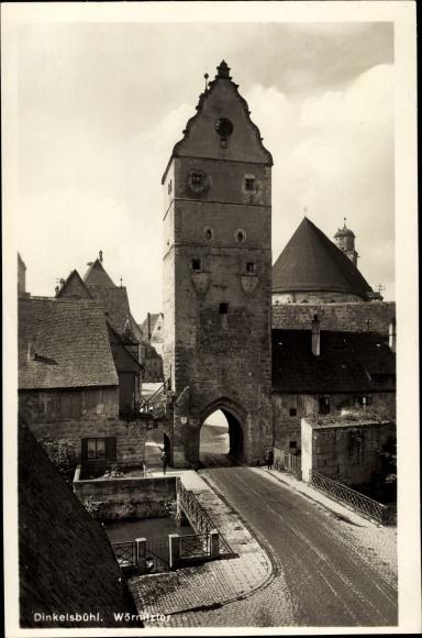 Ak Dinkelsbühl in Mittelfranken, Wörnitztor, Turm, Brücke 0