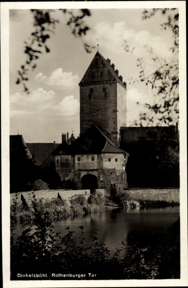 Ak Dinkelsbühl in Mittelfranken, Rothenburger Tor, Turm