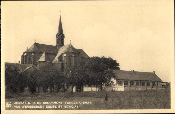 Ak Forges Chimay Wallonien Hennegau, Abbaye N. D. de Scourmont, Église et Noviciat