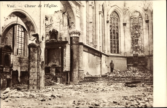 Ak Visé Wallonien Lüttich, Choeur de l'Église, Kriegszerstörungen, I. WK