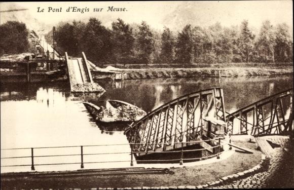 Ak Engis Wallonien Lüttich, Pont sur Meuse, Kriegszerstörungen, I. WK 0