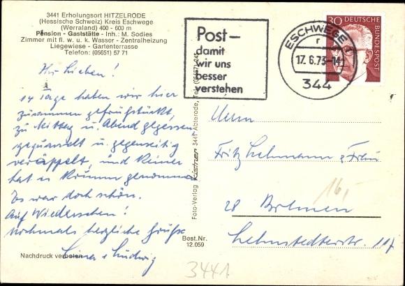 Ak Hitzelrode Meinhard im Werra Meißner Kreis, Pension Brill, Inh. M. Sodies 1