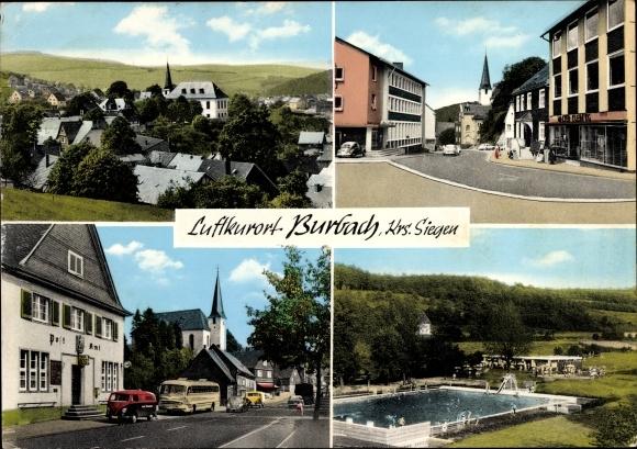 Ak Burbach Nordrhein Westfalen, Luftkurort, Blick auf den Ort, Postamt und Freibad 0