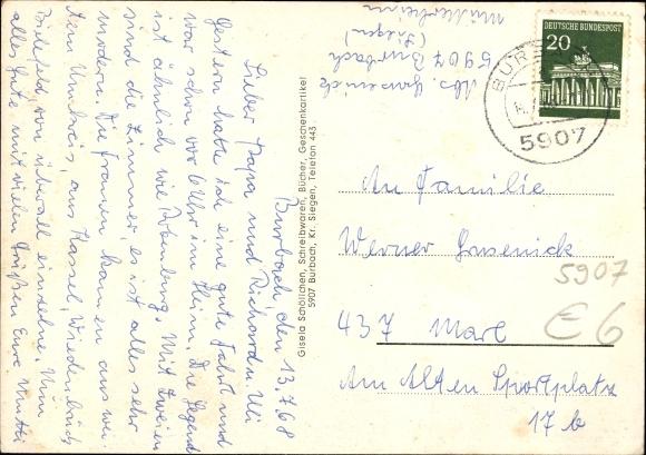 Ak Burbach Nordrhein Westfalen, Luftkurort, Blick auf den Ort, Postamt und Freibad 1