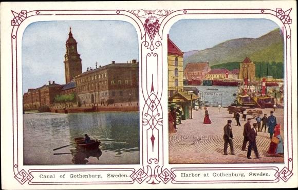 Ak Göteborg Schweden, Canal, Harbour, Kanal, Hafen 0