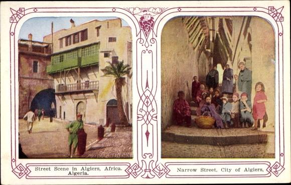 Ak Algier Alger Algerien, Street Scene, Narrow Street 0