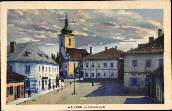 Ak Volary Wallern Südböhmen, Straßenpartie, Kirche, Gasthof 0