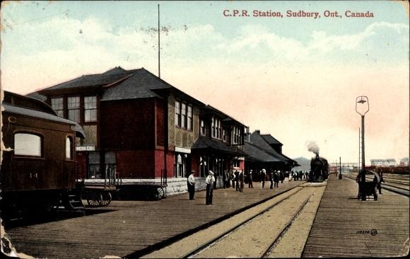 Ak Sudbury Ontario Kanada, C.P.R. Station, Bahnhof, Eisenbahn 0