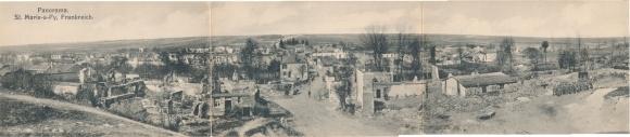 Klapp Ak Sainte Marie à Py Marne, Stadtpanorama, Kriegszerstörungen, I. WK
