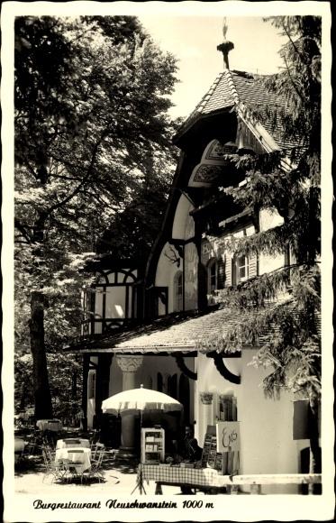 Ak Hohenschwangau Schwangau im Ostallgäu, Burgrestaurant Neuschwanstein, Außenansicht 0