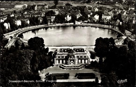 Ak Benrath Düsseldorf am Rhein, Schloss m. Teich, Fliegeraufnahme 0