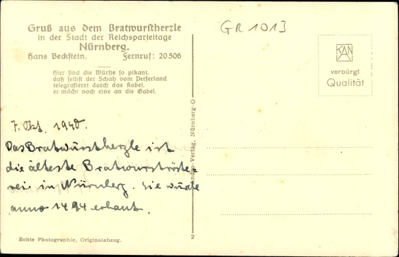 Ak Nürnberg, Bratwurstherzle, Bes. Hans Beckstein, Albrecht Dürer Zimmer m. Aposteluhr 1