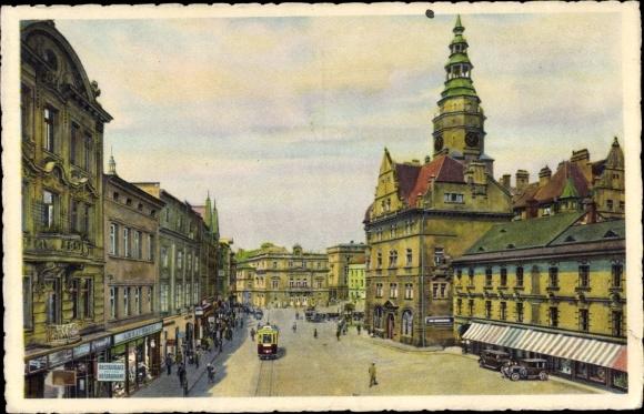 Ak Opava Troppau Reg. Mährisch Schlesien, Oberring mit Schmetterhaus und Theater 0