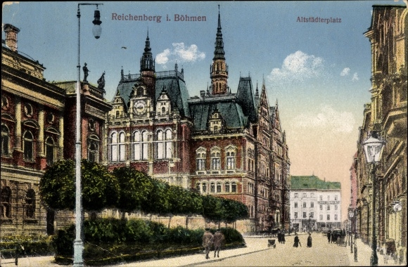 Ak Liberec Reichenberg Stadt, Altstädter Platz, Häuserfassaden 0