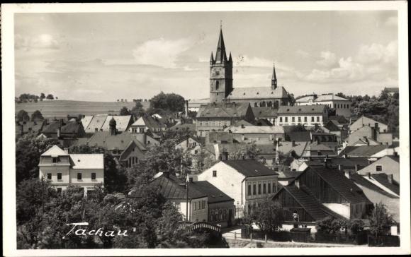 Ak Tachov Tachau Reg. Pilsen, Blick über die Dächer der Stadt 0