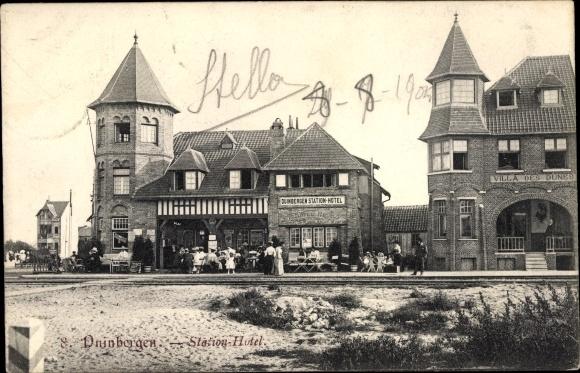 Ak Duinbergen Westflandern, Station hotel, Villa des Dunes, vue de la rue 0
