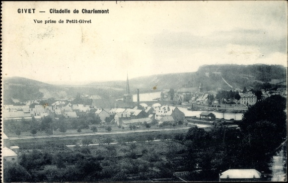 Ak Givet Ardennes, Citadelle de Charlemont, Vue prise de Petit Givet 0