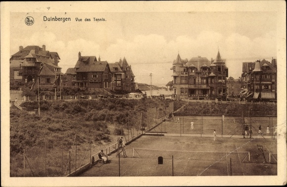 Ak Duinbergen Westflandern, Vue des Tennis, courts, joyeurs, maisons