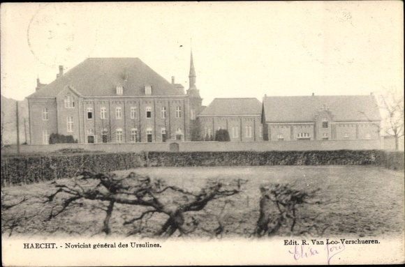 Ak Haacht Flandern Flämisch Brabant, Noviciat général des Ursulines, vue du jardin