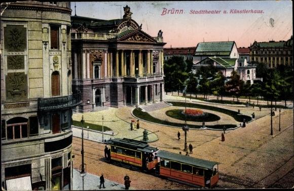 Ak Brno Brünn Südmähren, Stadttheater u. Künstlerhaus, Straßenbahn 0