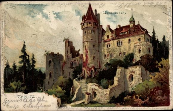 Litho Teplice Teplitz Schönau Reg. Aussig, Schlossberg, Außenansicht