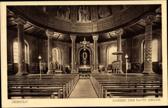 Ak Gesmold Melle in Niedersachsen, Katholische Kirche, Innenansicht 0