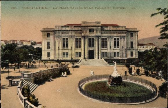 Ak Constantine Algerien, La Place Vallée, Palais de Justice 0
