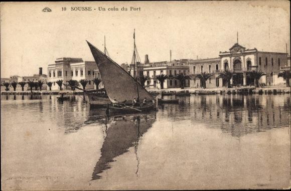 Ak Sousse Tunesien, Un coin du port, Hafenpartie, Feluke  0