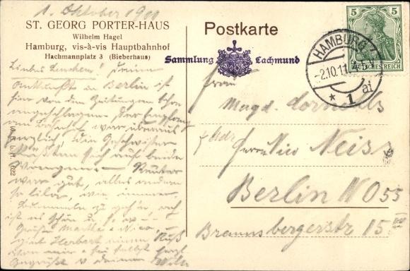 Ak Hamburg Mitte St. Georg, Porter Haus, Bes. Wilhelm Hagel, Innenansicht 1