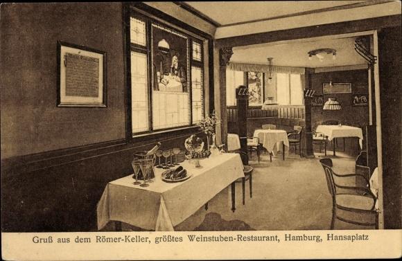 Ak Hamburg Mitte St. Georg, Römer Keller, Restaurant, Hansaplatz 0