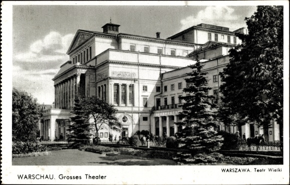 Ak Warszawa Warschau Polen, Großes Theater, Teatr Wielki, Außenansicht 0