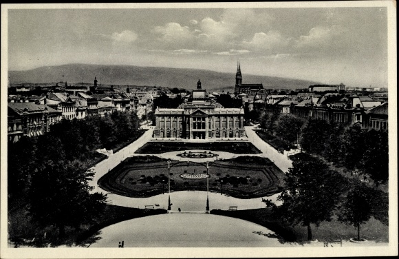Ak Zagreb Kroatien, König Tomislav Platz, Grünanlage, Stadtbild 0