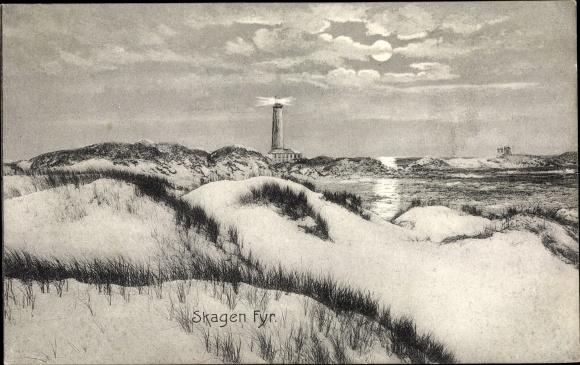 Mondschein Ak Skagen Frederikshavn Dänemark, Fyr, Dünen, Leuchtturm, Uferpartie 0