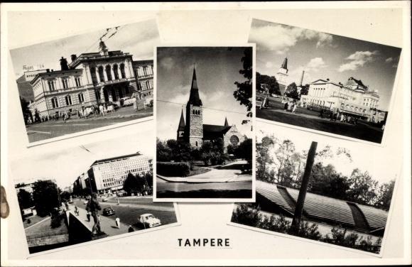 Ak Tampere Tammerfors Westfinnland, Dom, Theater, Straßenpartie, Tribüne 0
