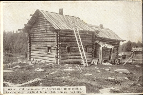 Ak Fölisön Seurasaari Helsinki Finnland, Freilichtmuseum, Blockhütte, Außenansicht 0