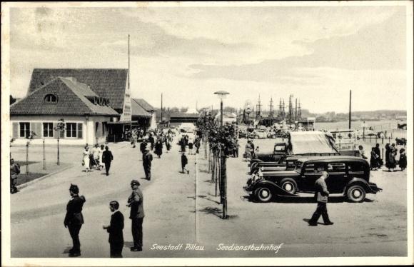 Ak Baltijsk Pillau Kaliningrad Ostpreußen, Seedienstbahnhof, Parkplatz 0