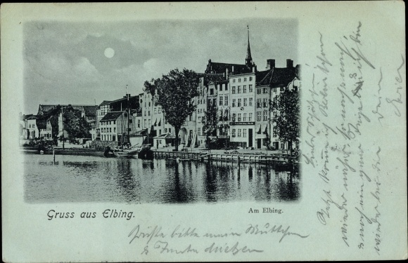 Mondschein Ak Elbląg Elbing Westpreußen, Am Elbing 0