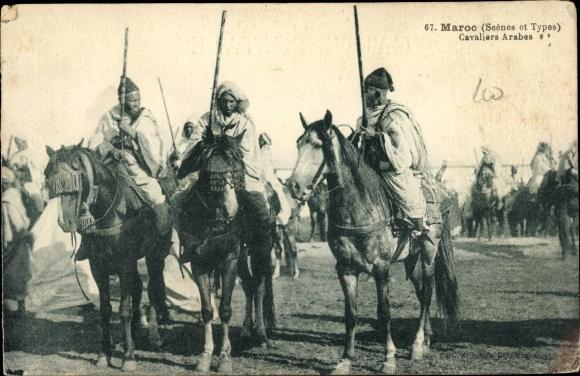 Ak Maroc Marokko, Scenes et Types, Cavaliers Arabes, Marokkanische Kavallerie 0