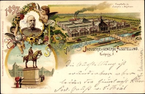 Litho Leipzig, Sächsisch-Thüringische Industrie- und Gewerbeausstellung 1897, König Albert 0